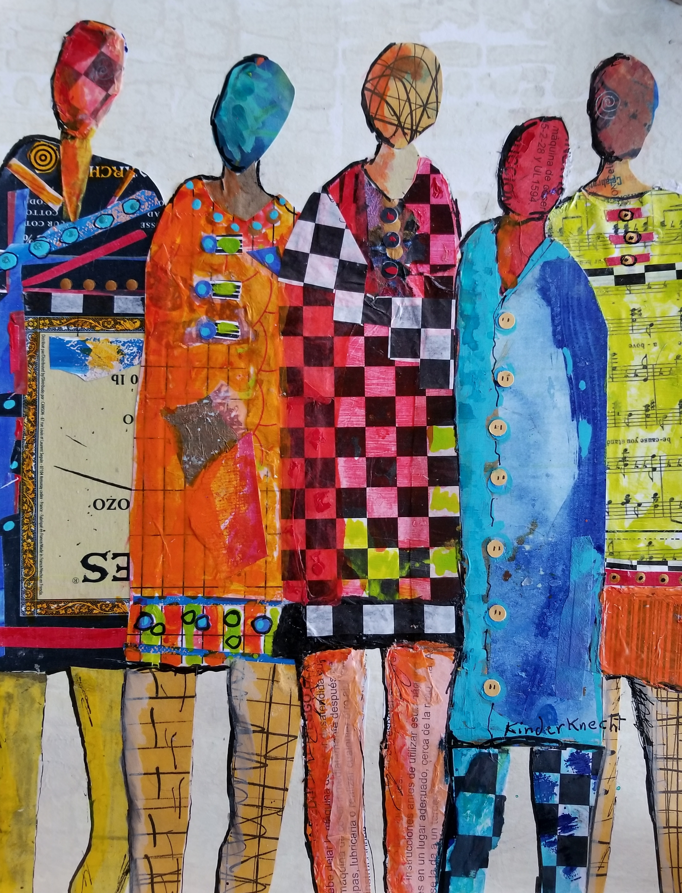 A collage of four faceless figures in bright colors and patterns