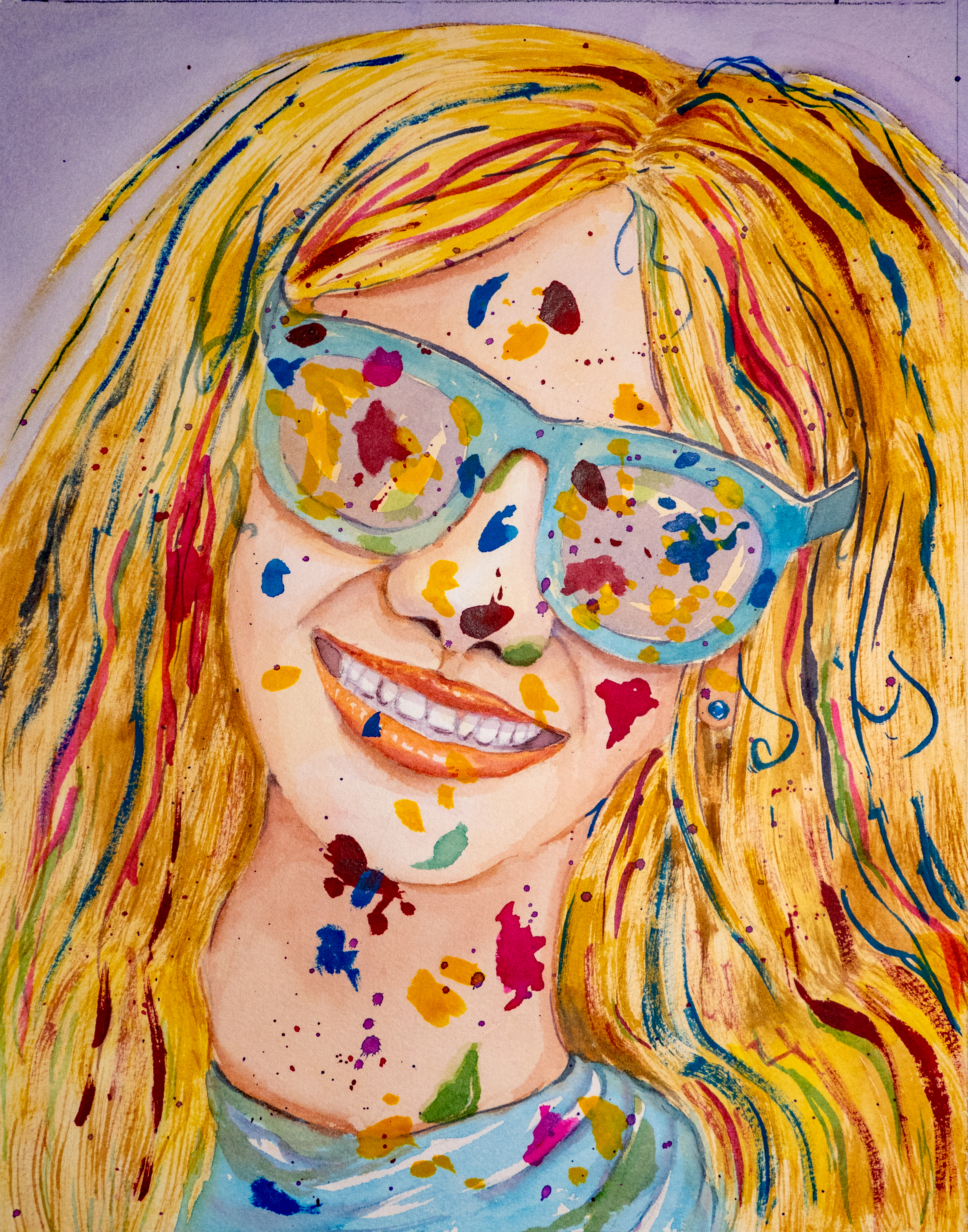 A painting of a young woman's smiling face with blue sunglasses, blonde hair, and brightly colored paint spatters