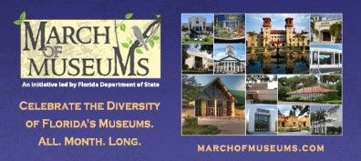 """Photo collage of Museums and March of Museums logo with text that reads, """"An initiative led by the Florida Department of State"""""""